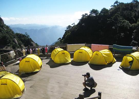 三清山女神宾馆帐篷,220元/双人帐/周末,提供开水喝,看日出超近,超酷超爽的体验。